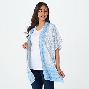 NWT Isaac Mizrahi Open Front Blue Print Kimono S